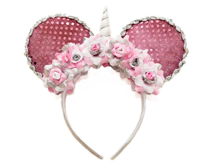 Pink White Silver Unicorn Mouse Ears Headband