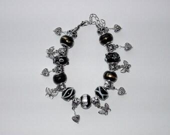 Black Lampwork charm leather bracelet ( #329)