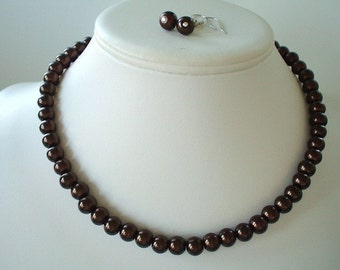 Single Strand Chocoloate Brown Pearl Beaded Necklace and Earring Set    Great Brides or Bridesmaid Gifts