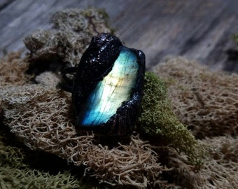 Electroformed Labradorite Feather Ring