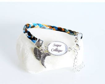 """Gift for """"super colleague"""" blue braided leather bracelet"""