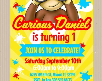 Curious George Invitation, Paint Party, Custom Invitation,Curious George Birthday