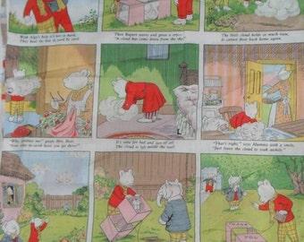Rare Original Rupert the Bear Story Panel Cotton Fabric