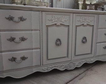SOLD  - - Refinished Vintage French Provincial dresser with cabinets shabby chic GRAY buffet sideboard