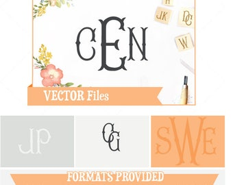 Fancy Fishtail Monogram Files VECTOR Alphabet/Font: Design/ Instant Download Files;  .ai .eps .psd .pdf .svg .dxf .emf Cuttable Font