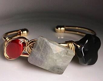 ALICE IN WONDERLAND Red Black Bauble Labrodite Gemstone Shell Ceramic Big Large Bead Statement Cuff Bangle Bracelet Jewelry Jewellery Gift