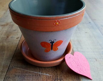 Painted Flower Pot - Butterfly Design - Rustic Home Decor - Rustic Planter - Orange and Gray