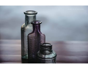 Still Life Photography Vintage Pharmacy Bottles Purple and Blue Dreamy Photography Rustic Decor Windowsill Bottles Bathroom Decor Wall Art