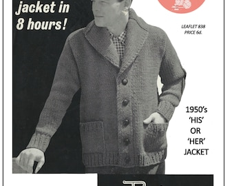 1950s His or Hers Chunky Knit Cardigan Pattern – PDF Instant Download