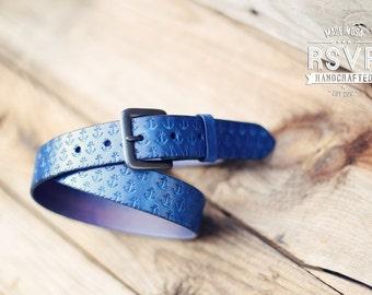 Custom Leather Belt, Handmade personalized gift, Blue stain, Anchor pattern, full grain leather belt, Men's Leather Belt, nautical