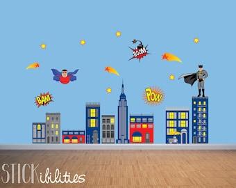 Kids Super Hero Wall Decals, Super Hero Wall Art, Wall Stickers