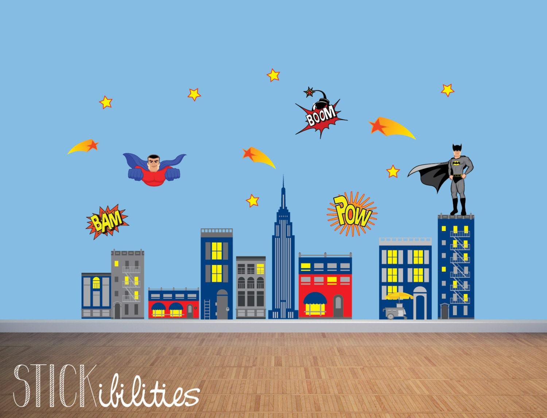 Kids Super Hero Wall Decals Super Hero Wall Art Wall - Superhero wall decals for boys