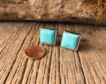 French Cufflinks: Arizona Turquoise, 14/17mm, square