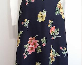 Talbots skirt, XS, S, floral skirt, spring skirt, summer skirt, navy blue skirt, romantic skirt, lined skirt, blue skirt