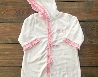 Pink Gingham Ruffle Hooded Coverup