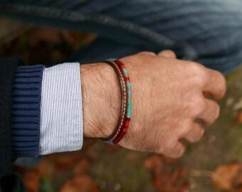 Bracelet ethnique homme / Bracelet tissé main de l'Araignée Gypsie / Bracelet cuir / Boho-chic / bleu gris beige orange / Cadeau pour homme
