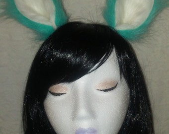 Furry Ears - Turquoise and White