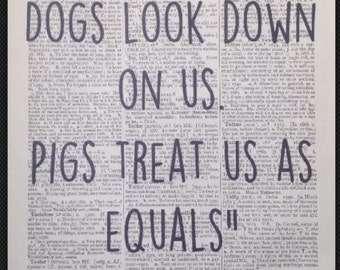 I LIKE PIGS Winston Churchill Quote  Quirky Funny Quote Animals Print Picture vintage Dictionary Print Wall art