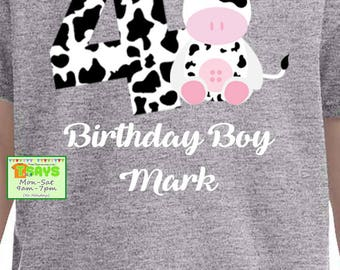 cow birthday shirts, personalized age shirt, cute cow shirts