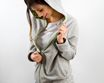 Zip up hoodie in athletic gray and green