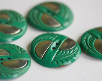 Green Celluloid With Metal Button