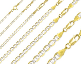 "14K Solid Yellow Gold White Pave Mariner Necklace Chain 1.5-7.7mm 16-26"" - Diamond Cut Anchor Link"