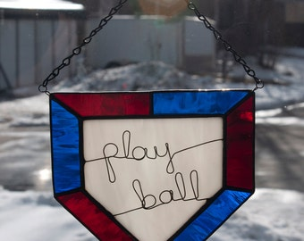 Stained glass home plate with wire words and team colors - baseball/softball theme