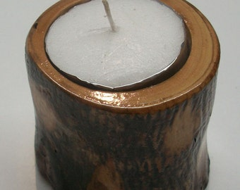 Olive Wood Trunk Candle Holder 2 Inch