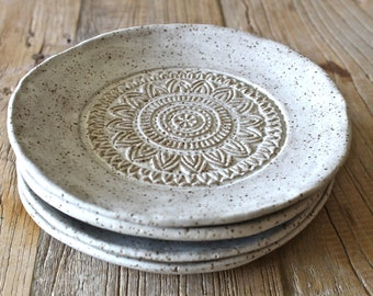 Handmade Organic shape dessert plate with texture design - stonewareoff white matte Small Plate - Ceramic Side Plates - Pottery Small Plates