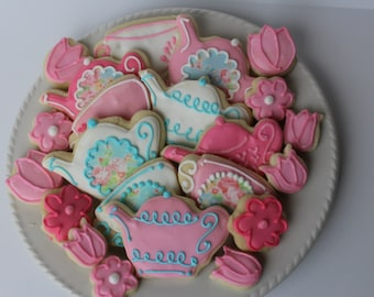 Tea Party Sugar Cookies, bridal shower, cookie favors, tea party favors, tea party birthday, tea party baby shower, tea party favors