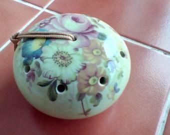 Ye Olde Ceramic Pomander Green Floral Made In England Torquay Bovey Tracey-Devon Circular