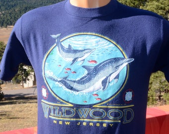 vintage 90s t-shirt WILDWOOD new jersey dolphins soft thin tee Small Medium preppy