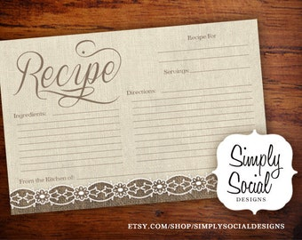 INSTANT DOWNLOAD Rustic Chic Burlap and Lace Bridal Shower Recipe Card