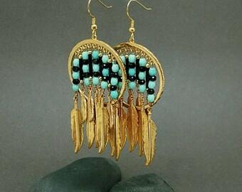 Tribal Earrings  | Ethnic Jewelry | Southwestern Jewelry | Native American Style | Turquoise Earrings | Feather Earrings | Gold Earrings