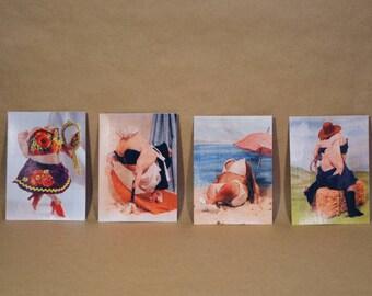 Hot Chix Hand-Printed Postcard Set
