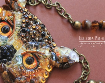OWL necklace handmade from stones and beads