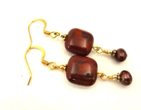 Bohemian Earrings Poppy Jasper Earrings Red Gemstone Square Earrings Red Stone Earrings Jasper Jewelry Rustic Stone Jewelry Gift for Mom