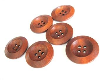 Bouton de bois brun rouge de 3cm - ensemble de 6 boutons en bois naturel