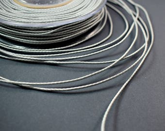 Wrapped silk cord, 1.5mm satin cord, silver grey cord, 4 meters