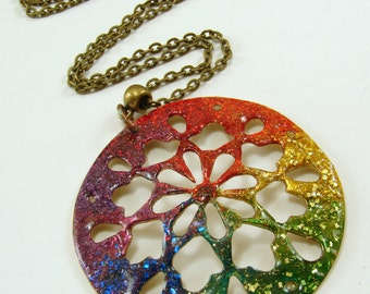 Rainbow Inked Hand Cut Fret Design Pendant Necklace, Resin Pendant Necklace