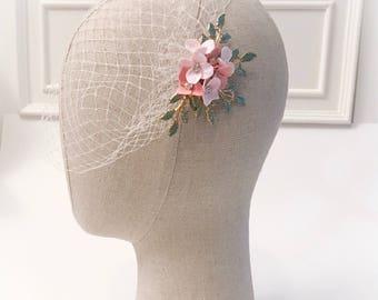Birdcage bridal veil, bridal headpiece, floral headpiece
