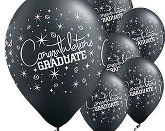 Black Graduation Balloons - Graduation Party Balloons -  Congratulations Graduate - Latex Balloons - Graduation Decorations - Celebration