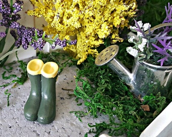 Miniature Rain Boots - Green and Yellow