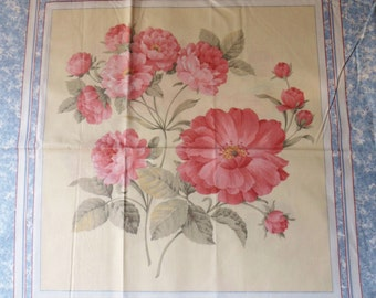 Pink Peony Pillow Panel, Floral Pillow Top with Two Different Prints