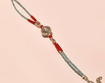 Beautiful Antique coral,turquoise gemstone TIBETAN SILVER JEWELRY bracelet