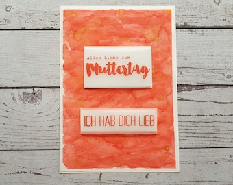 Muttertagskarte Handmade watercolor effect red/gold with cover/envelope A6
