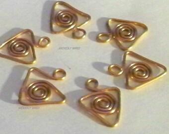 Copper Wire Swirl Triangle Dangle Charm
