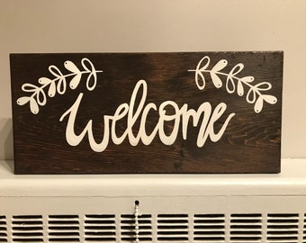 WELCOME sign- wooden sign block style