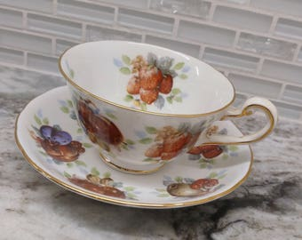 Royal Chelsea fruit teacup, royal chelsea tea set, English teacup and saucer, fruit tea cup