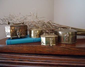 Vintage collection brass boxes, solid brass containers, oblong box, round box, cricket boxes